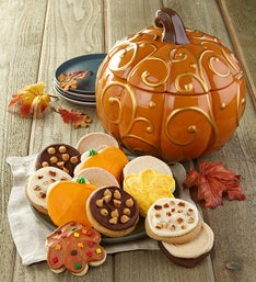 Cheryl's Metallic Swirl Pumpkin Cookie Jar