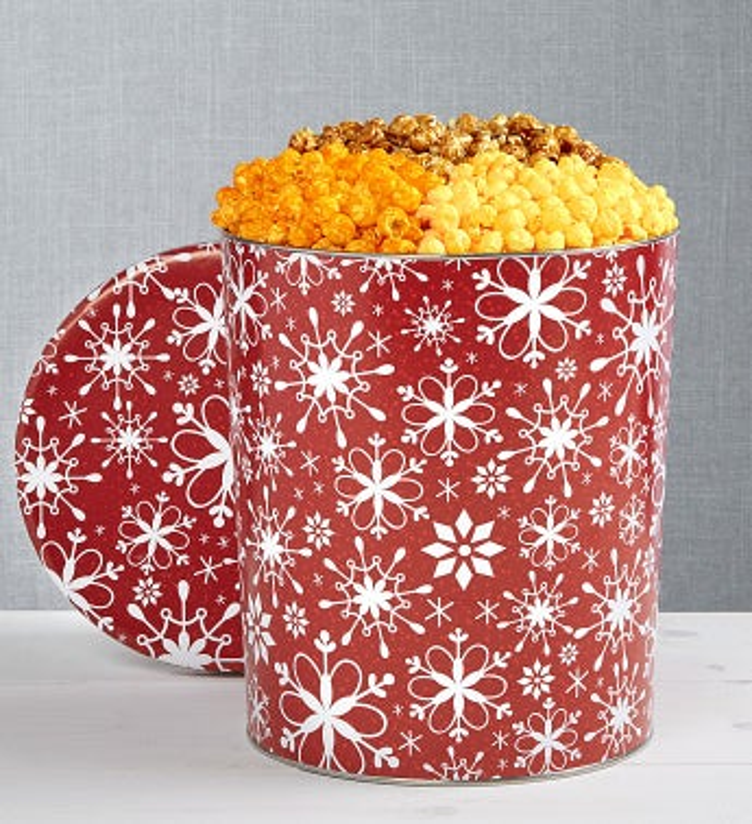 The Popcorn Factory Snowflake Popcorn Tin - The Popcorn Factory Snowflake 3 Flavor Tin 3.5G