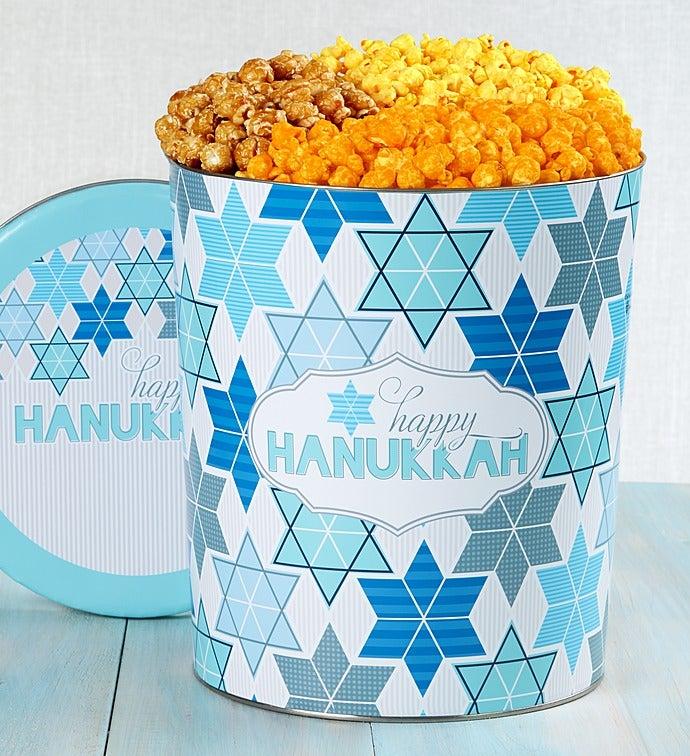 The Popcorn Factory Happy Hanukkah 3 Way Tin - The Popcorn Factory Happy Hanukkah 3 Way Tin