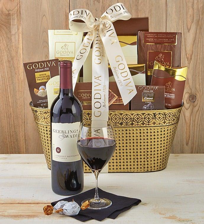 Godiva Decadence Gift Basket With Cabernet Wine - Godiva Decadence Basket With Cabernet - Grande