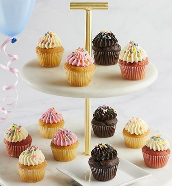 Little Whisk Happy Birthday Mini Cupcakes 12 Ea - Gift Basket Delivery