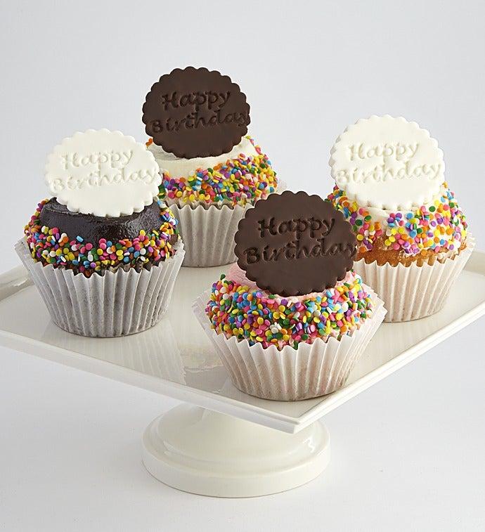 Little Whisk Happy Birthday Jumbo Filled Cupcakes - Happy Birthday Jumbo Filled Cupcakes 4 Each