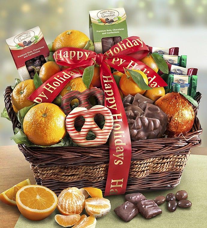 Yuletide Cheer Holiday Fruit & Sweets Basket - Yuletide Cheer Holiday Fruit & Sweets Basket
