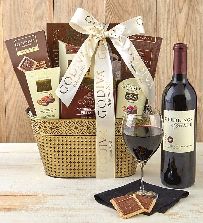 Godiva Decadence Gift Basket With Cabernet Wine - Godiva Decadence Basket With Cabernet - Deluxe