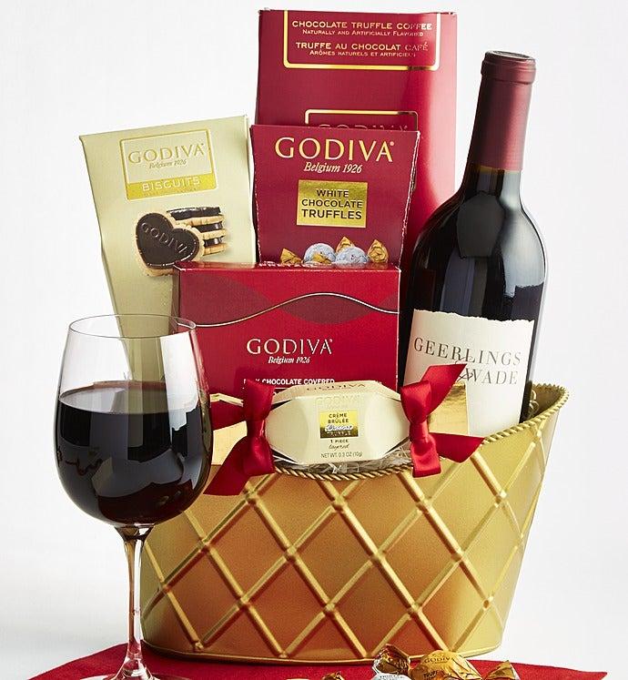 Godiva & Cabernet Wine Valentine Basket - Godiva & Cabernet Wine Valentine Basket - Deluxe
