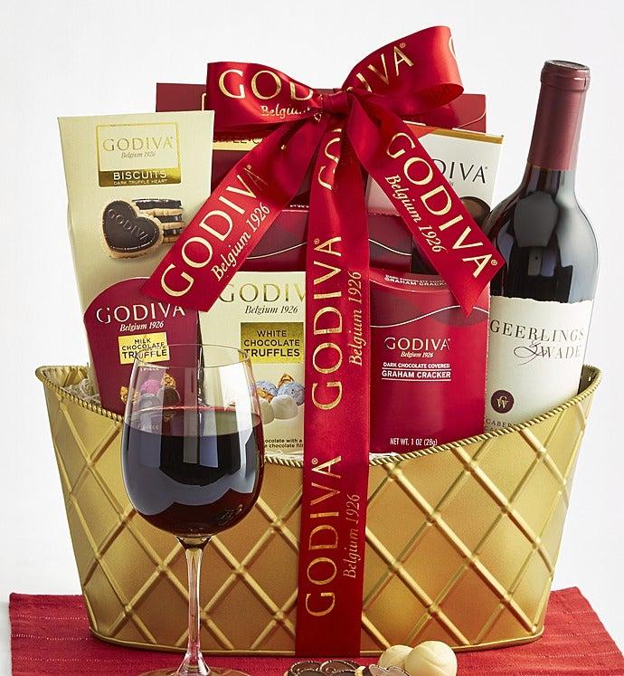 Godiva & Cabernet Wine Valentine Basket - Godiva & Cabernet Wine Valentine Basket - Grande