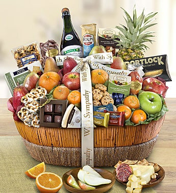With Sympathy Fruit & Sweets Gift Basket Grande