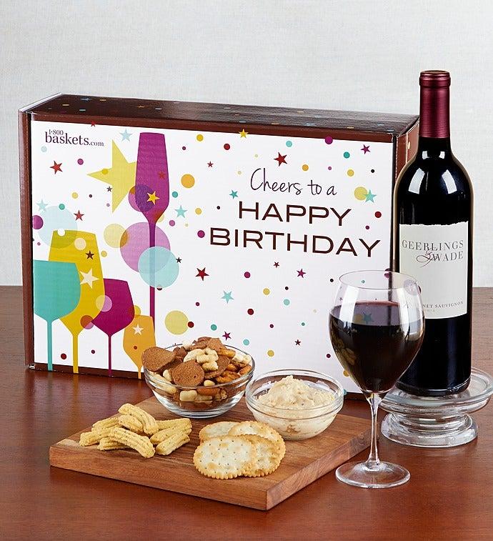 Happy Birthday! Red Wine And Gourmet Box - Happy Birthday! Red Wine And Gourmet Box