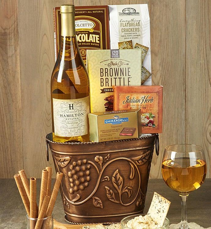 Grapevine White Wine & Cheese Gift Basket - Grapevine White Wine & Cheese Gift Basket