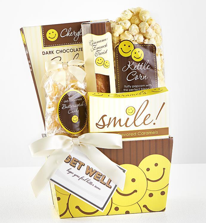 Sending Get Well Smiles Sweet Treats Gift Basket - Sending Get Well Smiles Sweet Treats Gift Basket