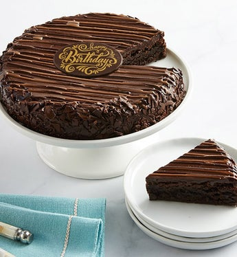 Bake Me A Wish! Triple Chocolate Brownie Cake - Gift Basket Delivery