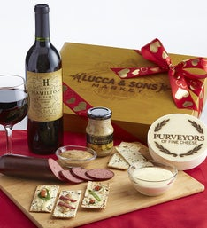 Valentine Sausage & Cheese Box with Merlot Wine