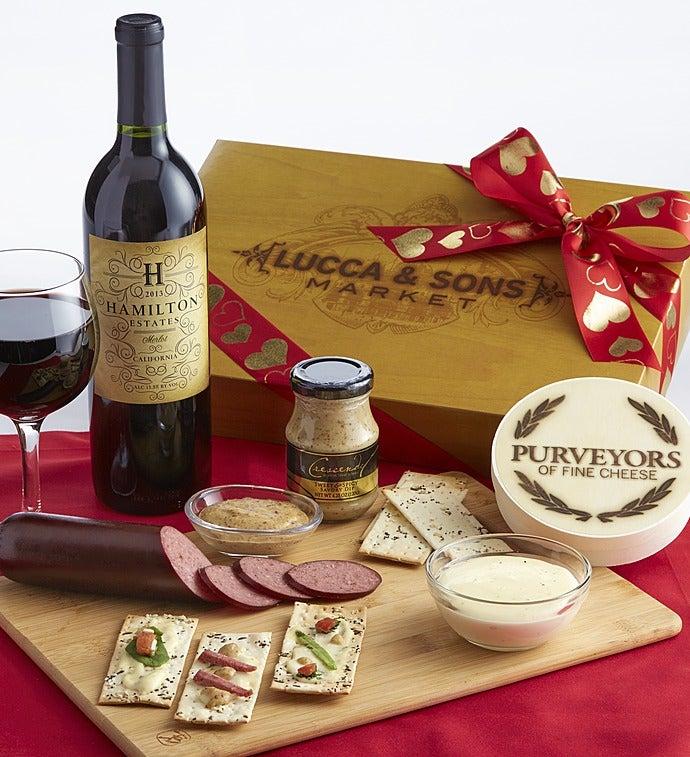 Valentine Sausage & Cheese Box With Merlot Wine - Valentine Sausage & Cheese Box With Merlot Wine