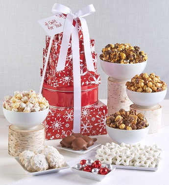 The Popcorn Factory Snowflake Tower - The Popcorn Factory 6 Tier Snowflake Tower