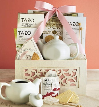 Teatime Gift Basket With Tea For One Teapot - Teatime Gift Basket With Tea For One Teapot