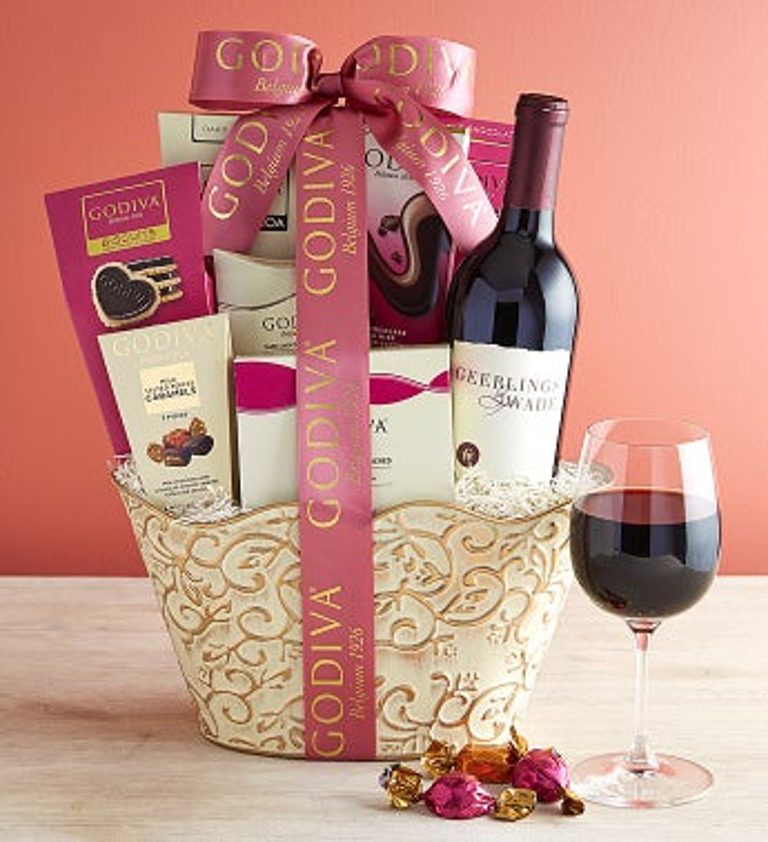 Godiva Wine & Sweets Gift Basket - Godiva Wine & Sweets Gift Basket - Grande