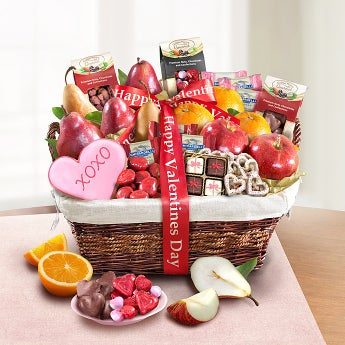 Happy Valentine's Day Deluxe Fruit & Sweets Basket - Happy Valentine's Day Deluxe Fruit & Sweets Basket