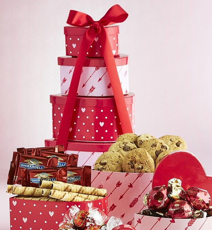 Hearts Afire Valentine Heart Chocolates Tower - Hearts Afire Valentine Heart Chocolates Tower