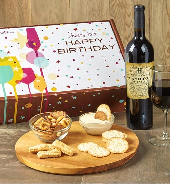 Happy Birthday! Red Wine And Gourmet Box-Happy Birthday! Red Wine And Gourmet Box
