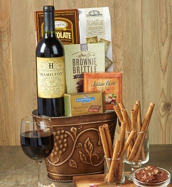 Grapevine Red Wine & Cheese Gift Basket-Grapevine Red Wine & Cheese Gift Basket