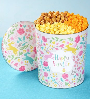 The Popcorn Factory Happy Easter 3 Way Tin - The Popcorn Factory Happy Easter 3 Way Tin