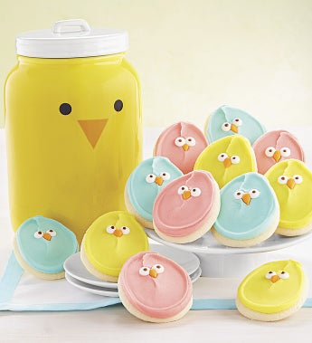 Cheryl's Spring Chick Face Mason Cookie Jar - Cheryl's Spring Chick Face Mason Cookie Jar