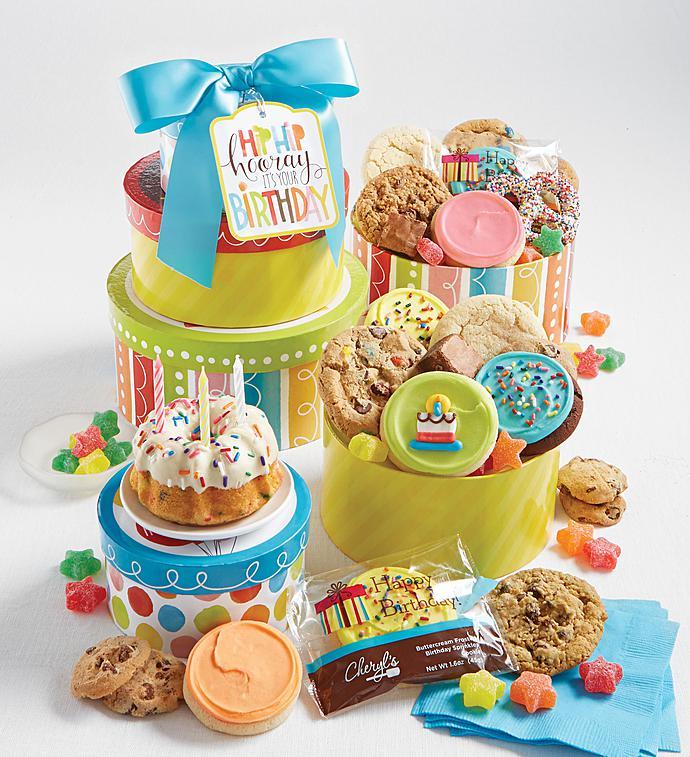 Cheryl's Hip Hip Hooray Birthday Tower-Cheryl's Hip Hip Hooray Birthday Gift Tower