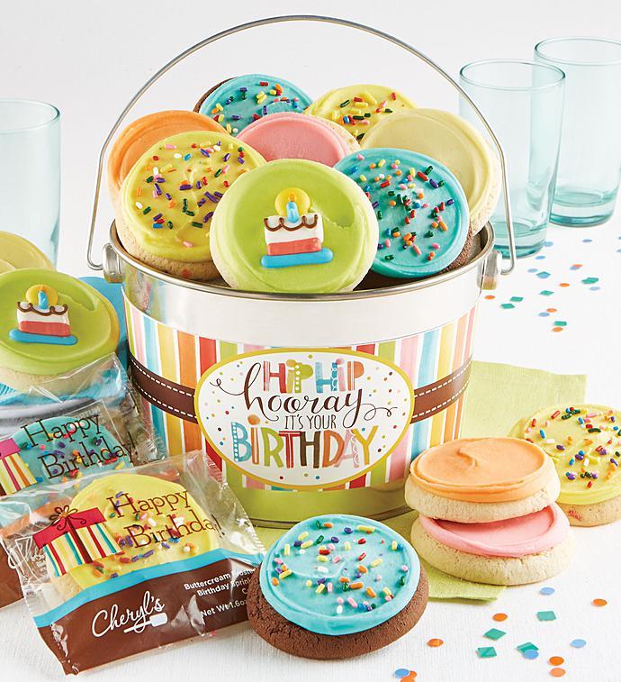 Cheryl's Hip Hip Hooray Birthday Gift Pail-Cheryl's Hip Hip Hooray Birthday Buttercream Pail