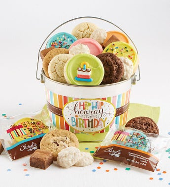 Cheryl's Hip Hip Hooray Birthday Gift Pail-Cheryl's Hip Hip Hooray Birthday Treats Pail