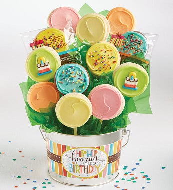 Cheryl's Hip Hip Hooray Birthday Cookie Flower Pot - Cheryl's Hip Hip Hooray Birthday Cookie Flower Pot