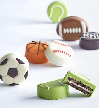 Sports Ball Oreo® Cookies All Sports Fans will love these unique confection dipped Oreo® cookies made in the shapes of their favorite sports balls. They'll love these 6 confection-dipped Oreos that have been decorated to absolute perfection.  We've covered all bases with a football, basketball, tennis ball, baseball, soccer ball and even a hockey puck!6 uniquely designed confection covered OreosIndividually wrapped for freshness and flavorArrives in a handsome gift box