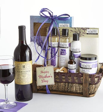 Mother's Day Lavender Spa Basket with Merlot Wine