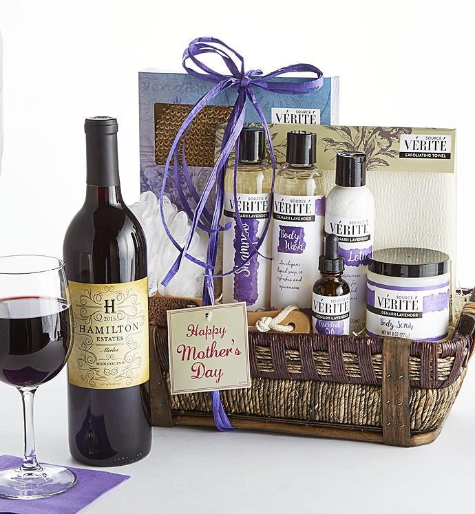 Happy Mother's Day! Denarii Lavender Spa Basket - Mother's Day! Lavender Spa Basket With Merlot Wine