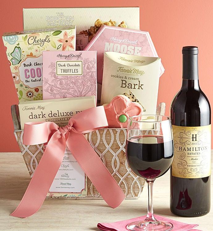Full Bloom Sweets & Merlot Wine Basket - Full Bloom Sweets & Merlot Wine Basket