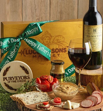 Father's Day Sausage & Cheese Box With Wine - Father's Day Sausage & Cheese Box With Wine