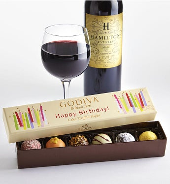 Godiva Birthday Box & Merlot Wine - Godiva Birthday Box & Merlot Wine