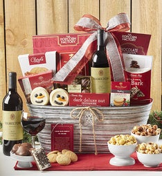 Sparkling Snow Sweets & Merlot Wine Basket