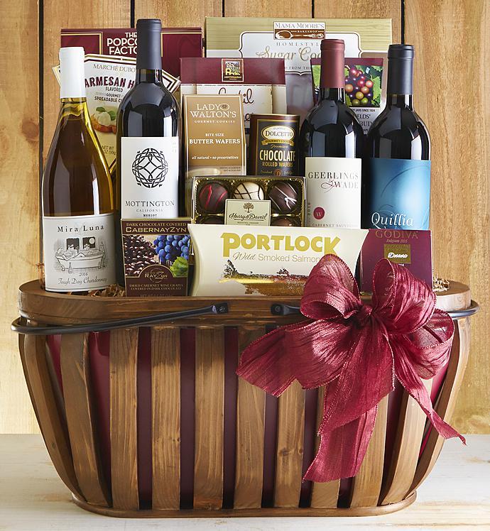 Countryside 4 bottle wine gourmet gift basket 1800baskets countryside 4 bottle wine gourmet gift basket negle Choice Image