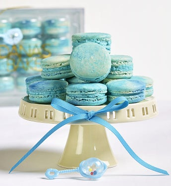 Dana's Bakery Welcome Baby! Macarons Baby Boy Blue -12 Pc Box - Gift Basket Delivery