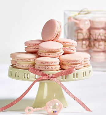 Dana's Bakery Welcome Baby! Macarons Baby Girl Pink -12 Pc Box - Gift Basket Delivery