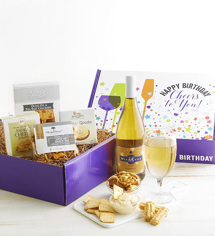 Happy Birthday White Wine And Gourmet Box