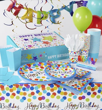Birthday In A Box - Party For 8 Tabletop Set Plan your next birthday celebration in minutes with this complete party set for eight.  The colorful birthday candles spell out  Happy Birthday  in a fun and festive way. This set for 8 includes 7  plates, 10.5  plates, 3 piece cutlery sets, napkins, party cups, treat boxes, and treat cups all beautifully coordinated in Confetti Bash and Caribbean Blue.Set includes:- One 14 piece set of Happy Birthday Candle Picks - each candle is shaped like a letter which when placed together on the birthday cake will spell  Happy Birthday  in a rainbow of colors.- Eight each rainbow colored Confetti Bash pattern 7  plates, 10.5  plates, drinking cups, and luncheon napkins.- Eight each Caribbean Blue treat boxes and treat cups- Eight each 3 piece sets of white plastic cutleryBirthday Design Box can be reused for storage of decorations and other party suppliesnBox Measures 15.75 L x 10.75 W x 4.25 Hnnn