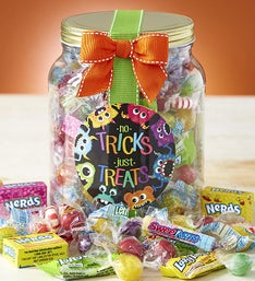 No Tricks Just Treats Halloween Candy Jar