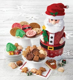 Cheryl's Santa Claus Cookie Gift Tower