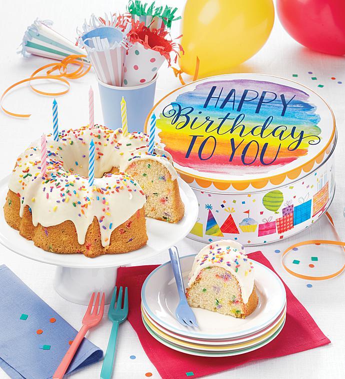 Cheryls Birthday Bundt Cake In Musical Tin 1800baskets
