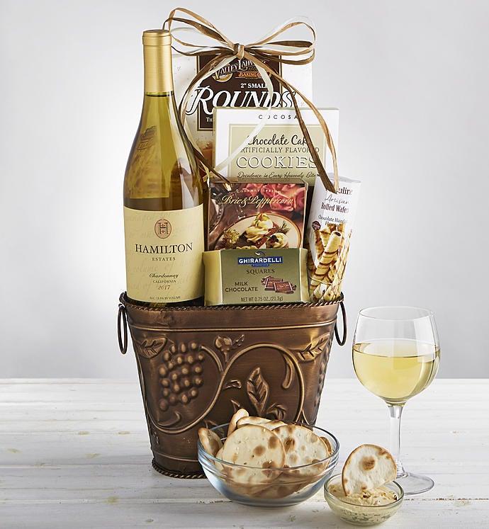 Grapevine White Wine  Cheese Gift Basket