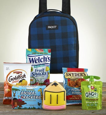 After School Snack Time With Blue Plaid Backpack - Fun Snacks  by 1-800-Baskets