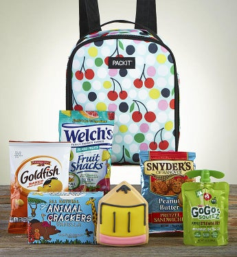 After School Snack Time With Cherry Dot Backpack - Fun Snacks by 1-800-Baskets