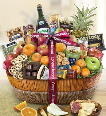 Congrats Fruit  Sweets Gift Basket Grande