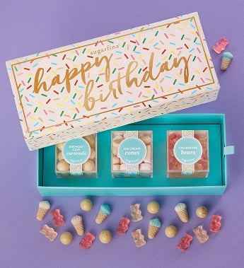 Sugarfina Happy Birthday Candy Bento Box 3Pc by 1-800-Baskets